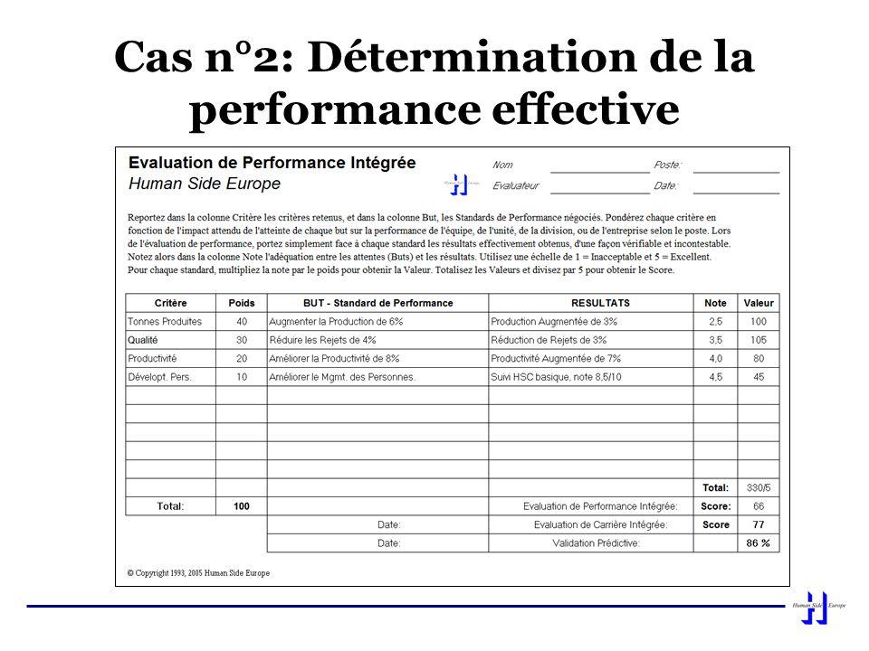 Cas n°2: Détermination de la performance effective