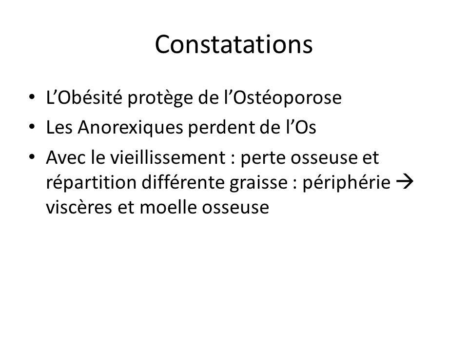 Constatations LObésité protège de lOstéoporose Les Anorexiques perdent de lOs Avec le vieillissement : perte osseuse et répartition différente graisse