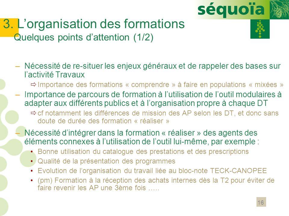 16 –Nécessité de re-situer les enjeux généraux et de rappeler des bases sur lactivité Travaux Importance des formations « comprendre » à faire en popu