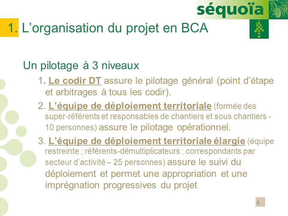4 1. Lorganisation du projet en BCA Un pilotage à 3 niveaux 1. Le codir DT assure le pilotage général (point détape et arbitrages à tous les codir). 2