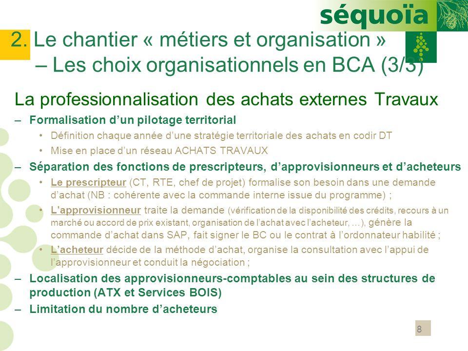8 2. Le chantier « métiers et organisation » – Les choix organisationnels en BCA (3/3) La professionnalisation des achats externes Travaux –Formalisat