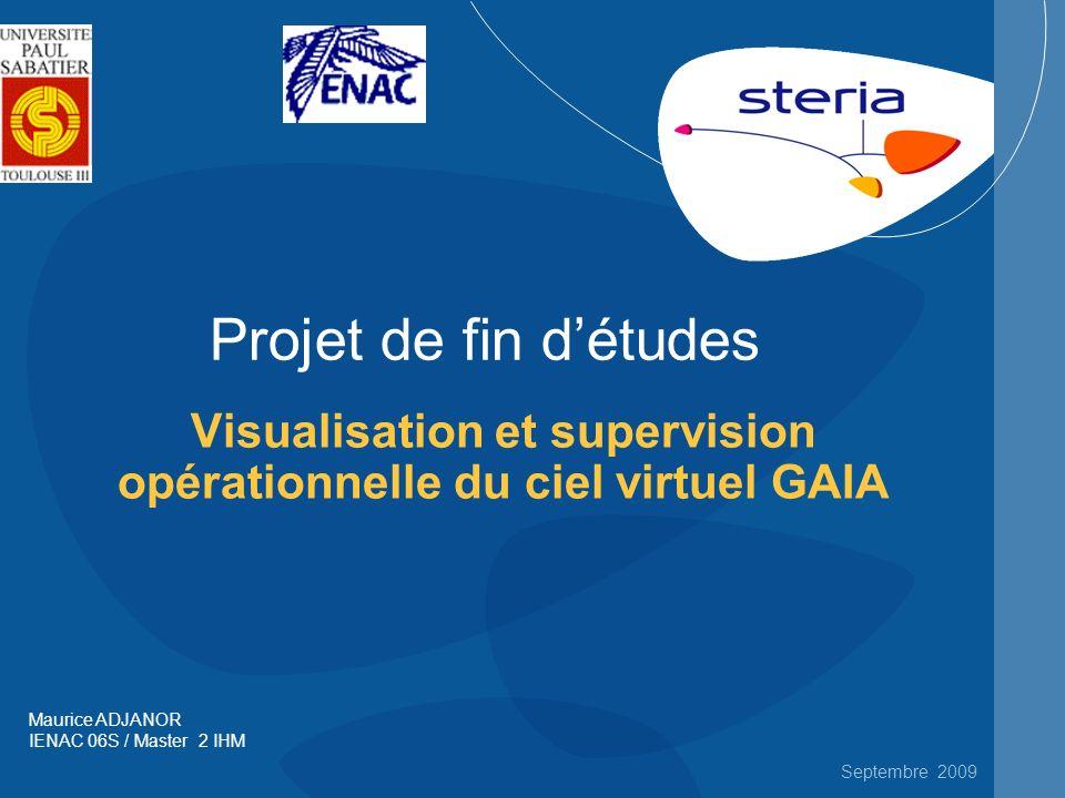Septembre 2009 Projet de fin détudes Visualisation et supervision opérationnelle du ciel virtuel GAIA Maurice ADJANOR IENAC 06S / Master 2 IHM