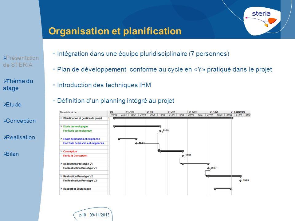 Organisation et planification | 09/11/2013p10 Présentation de STERIA Thème du stage Etude Conception Réalisation Bilan Intégration dans une équipe plu