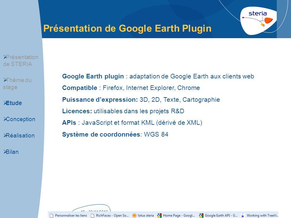 | 09/11/2013p18 Présentation de Google Earth Plugin Présentation de STERIA Thème du stage Etude Conception Réalisation Bilan Google Earth plugin : ada