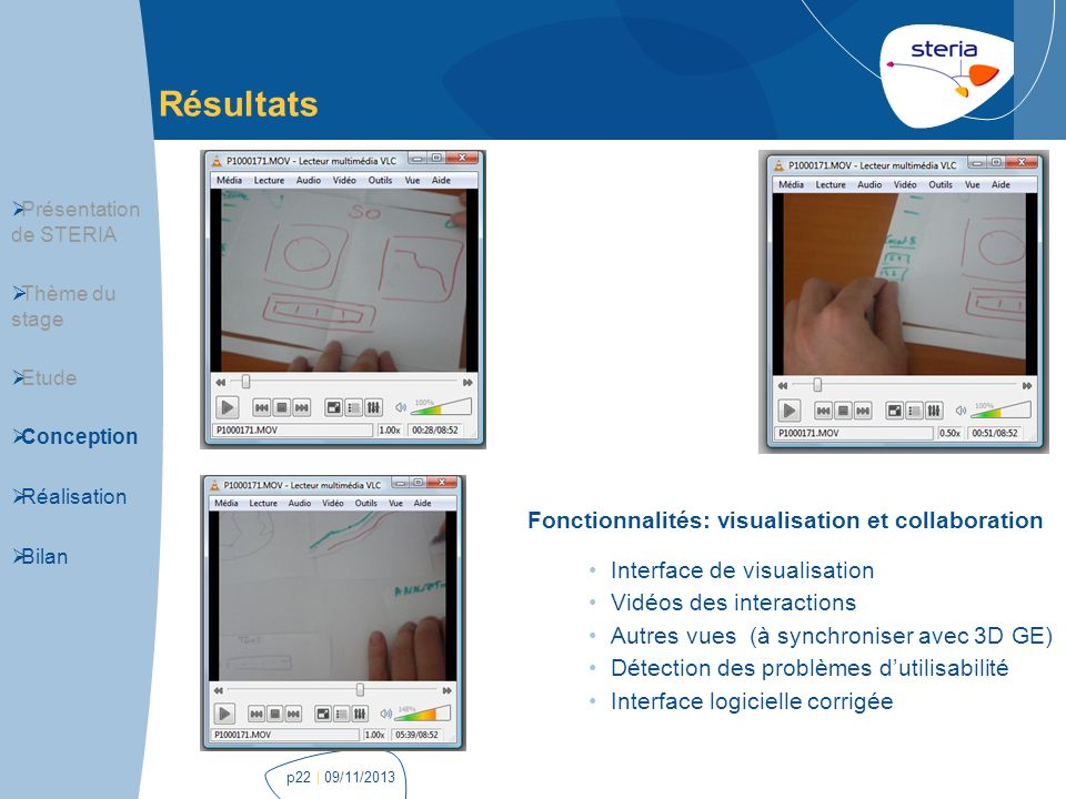 | 09/11/2013p22 Résultats Interface de visualisation Vidéos des interactions Autres vues (à synchroniser avec 3D GE) Détection des problèmes dutilisab