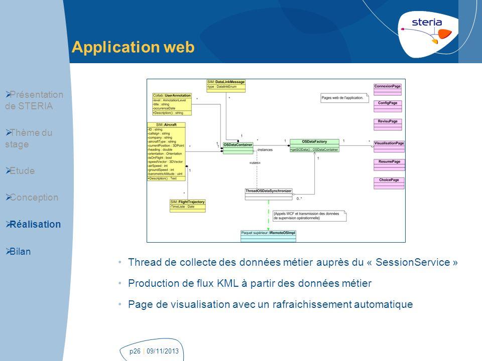 | 09/11/2013p26 Application web Présentation de STERIA Thème du stage Etude Conception Réalisation Bilan Thread de collecte des données métier auprès