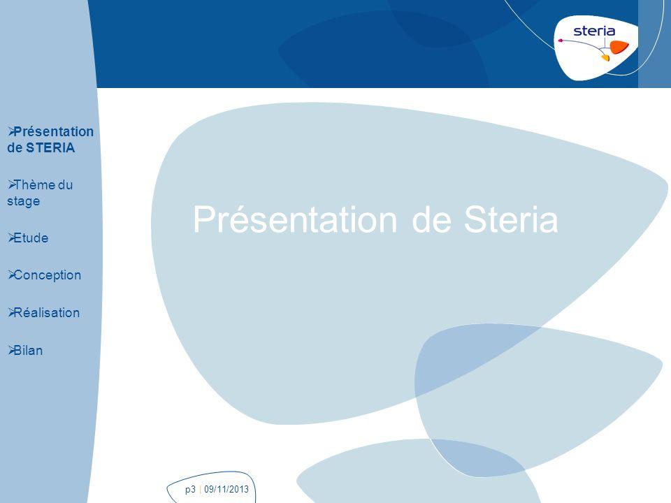 | 09/11/2013p24 Réalisation Présentation de STERIA Thème du stage Etude Conception Réalisation Bilan