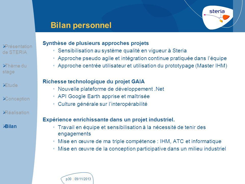 | 09/11/2013p30 Bilan personnel Présentation de STERIA Thème du stage Etude Conception Réalisation Bilan Synthèse de plusieurs approches projets Sensi