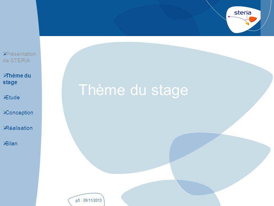 | 09/11/2013p26 Application web Présentation de STERIA Thème du stage Etude Conception Réalisation Bilan Thread de collecte des données métier auprès du « SessionService » Production de flux KML à partir des données métier Page de visualisation avec un rafraichissement automatique