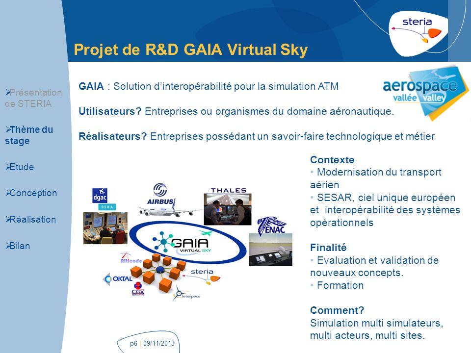 p6 Projet de R&D GAIA Virtual Sky GAIA : Solution dinteropérabilité pour la simulation ATM Utilisateurs? Entreprises ou organismes du domaine aéronaut