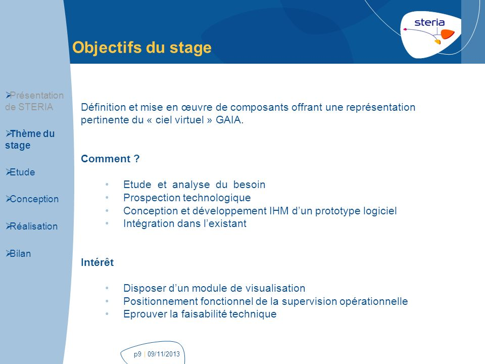 | 09/11/2013p9 Objectifs du stage Présentation de STERIA Thème du stage Etude Conception Réalisation Bilan Définition et mise en œuvre de composants o