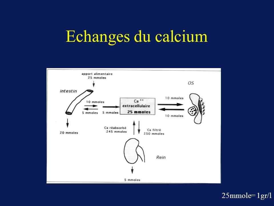 Régulation des hormones par le taux de calcium sérique Vitamine D : synthése lors de la diminution de la calcémie (augmentation de lhydroxylase rénale due à PTH et calcémie) Parathormone : synthése lors de laugmentation de la calcémie grâce à un récepteur du calcium