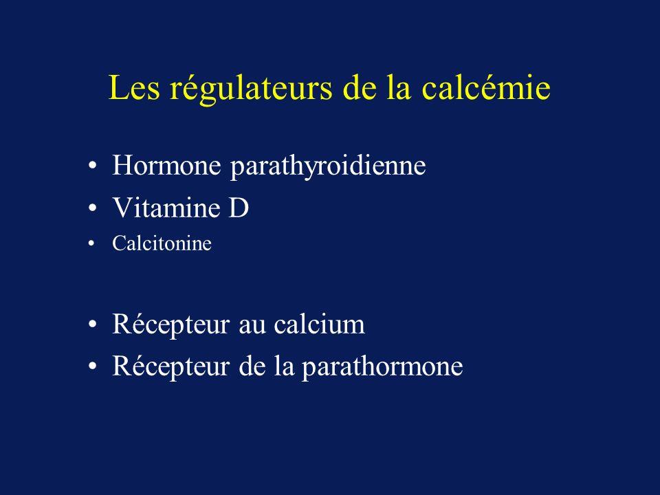 Les régulateurs de la calcémie Hormone parathyroidienne Vitamine D Calcitonine Récepteur au calcium Récepteur de la parathormone