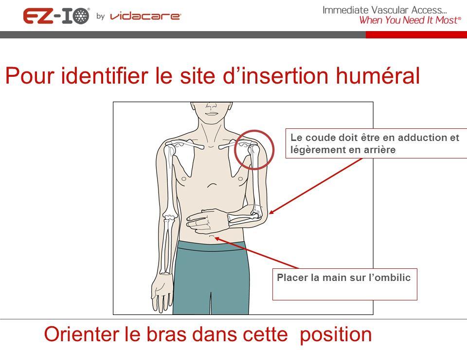 Pour identifier le site dinsertion huméral Le coude doit être en adduction et légèrement en arrière Orienter le bras dans cette position Placer la mai