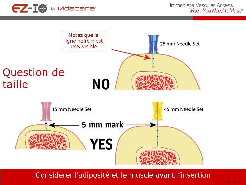 Considerer ladiposité et le muscle avant linsertion Note that the 5 mm mark is NOT visible above the skin T-430 Rev, E Question de taille Notez que la