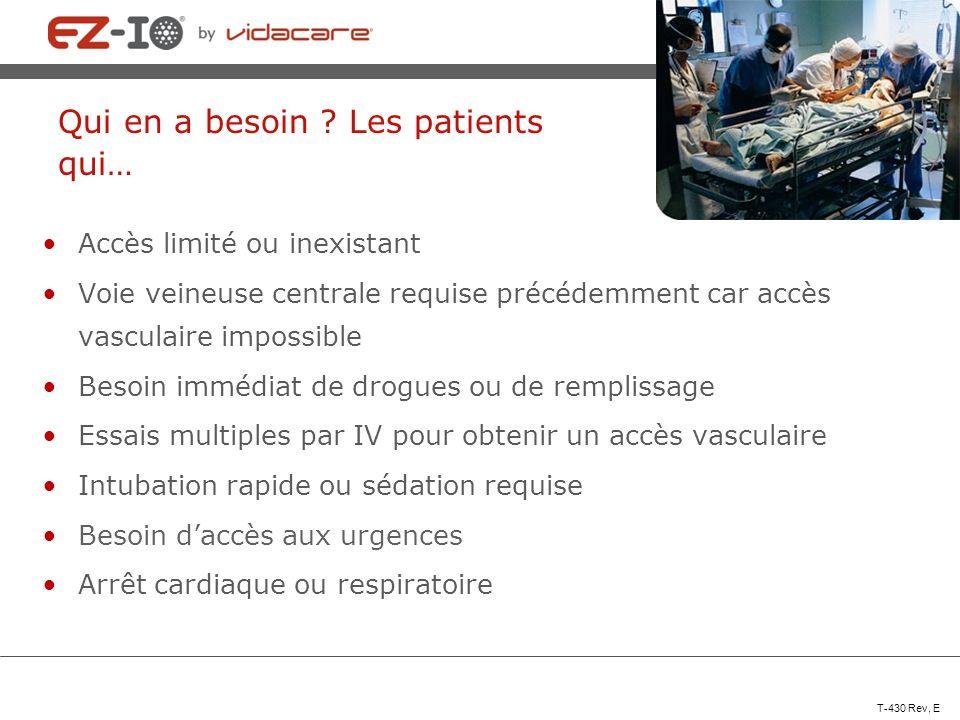 Qui en a besoin ? Les patients qui… Accès limité ou inexistant Voie veineuse centrale requise précédemment car accès vasculaire impossible Besoin immé
