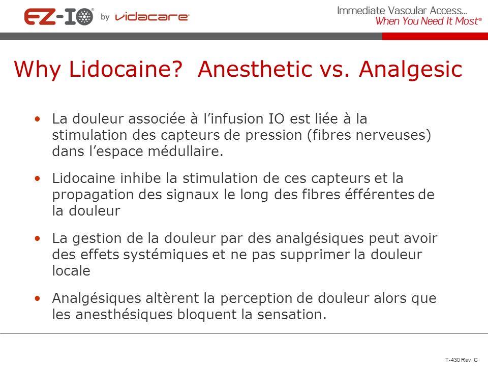 Why Lidocaine? Anesthetic vs. Analgesic La douleur associée à linfusion IO est liée à la stimulation des capteurs de pression (fibres nerveuses) dans