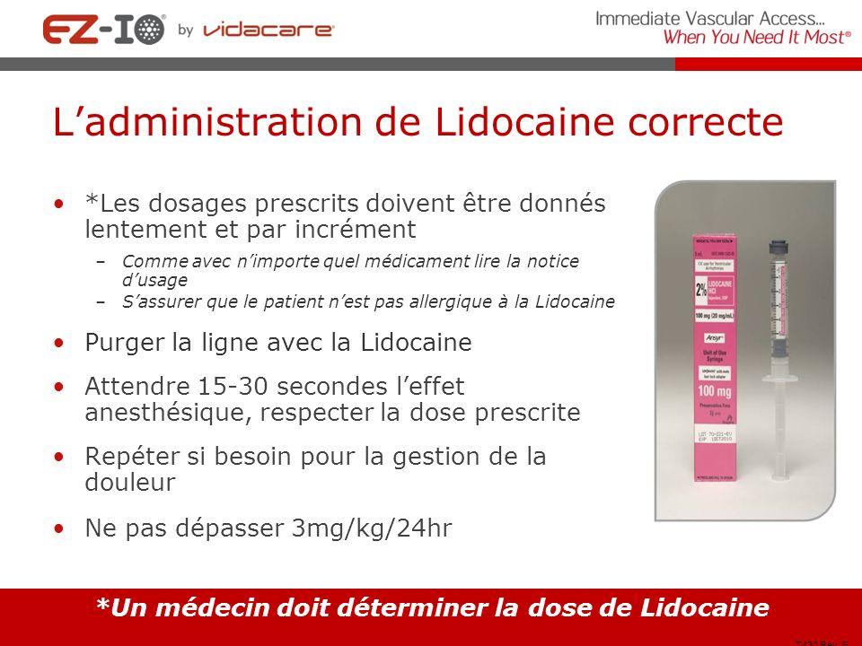 Ladministration de Lidocaine correcte *Les dosages prescrits doivent être donnés lentement et par incrément –Comme avec nimporte quel médicament lire