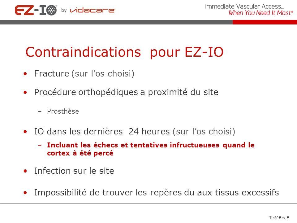 Contraindications pour EZ-IO Fracture (sur los choisi) Procédure orthopédiques a proximité du site –Prosthèse IO dans les dernières 24 heures (sur los