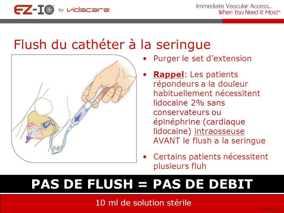 PAS DE FLUSH = PAS DE DEBIT 10 ml de solution stérile Flush du cathéter à la seringue Purger le set dextension Rappel: Les patients répondeurs a la do