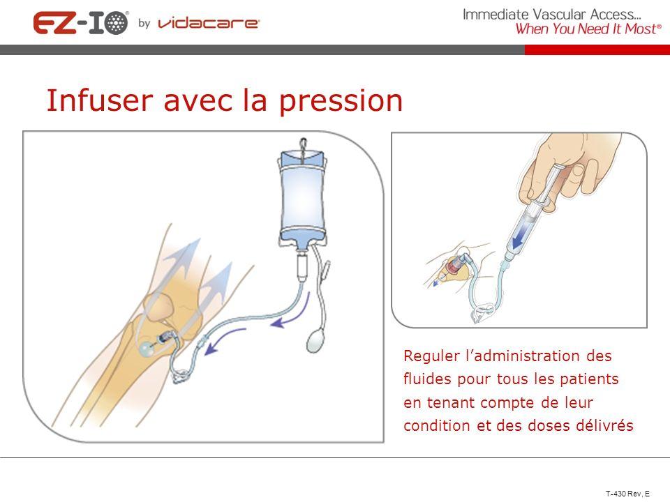 Reguler ladministration des fluides pour tous les patients en tenant compte de leur condition et des doses délivrés T-430 Rev, E Infuser avec la press