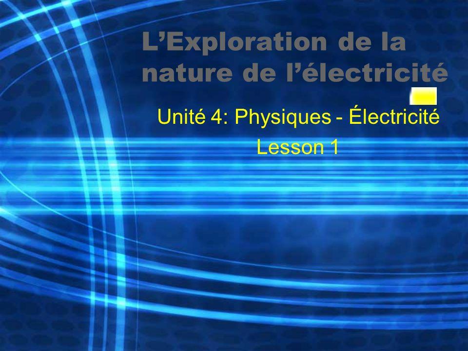 LExploration de la nature de lélectricité Unité 4: Physiques - Électricité Lesson 1