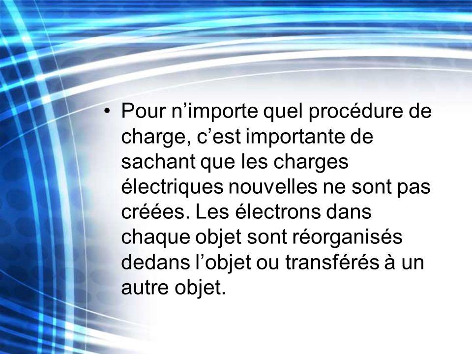Pour nimporte quel procédure de charge, cest importante de sachant que les charges électriques nouvelles ne sont pas créées. Les électrons dans chaque