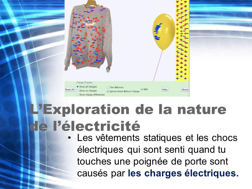 LExploration de la nature de lélectricité Les vêtements statiques et les chocs électriques qui sont senti quand tu touches une poignée de porte sont c