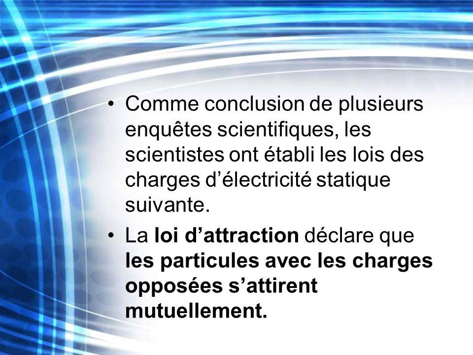 Comme conclusion de plusieurs enquêtes scientifiques, les scientistes ont établi les lois des charges délectricité statique suivante. La loi dattracti