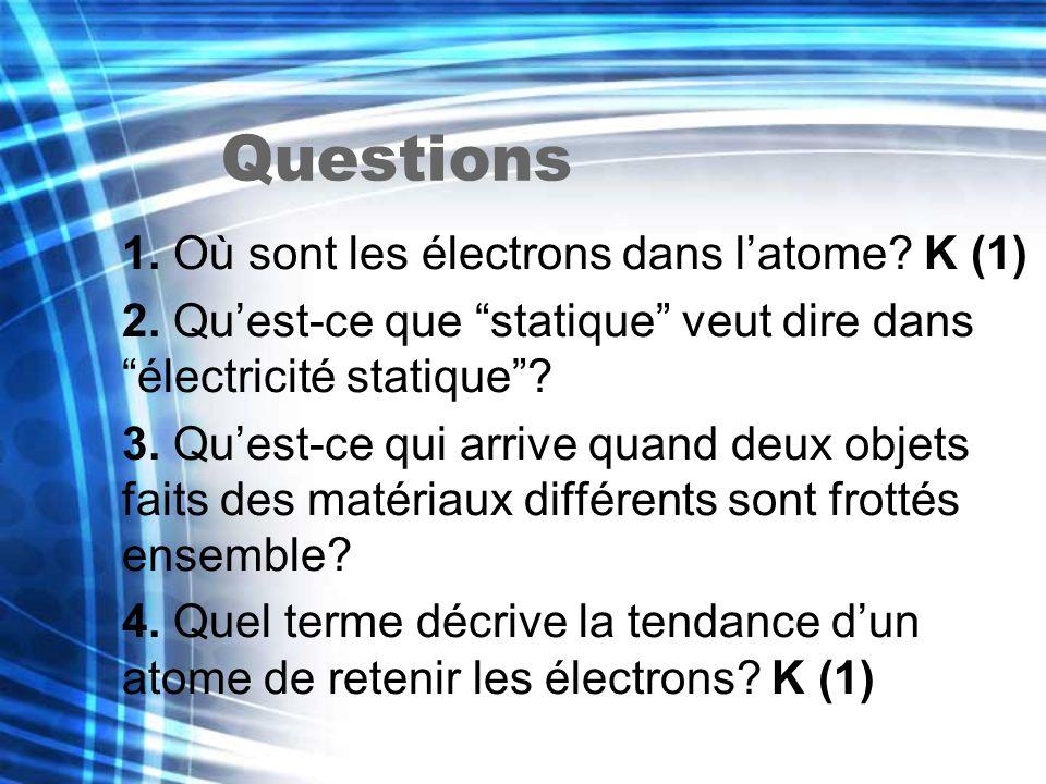 Questions 1. Où sont les électrons dans latome? K (1) 2. Quest-ce que statique veut dire dans électricité statique? 3. Quest-ce qui arrive quand deux