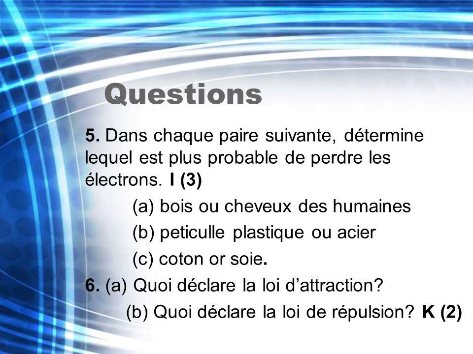 Questions 5. Dans chaque paire suivante, détermine lequel est plus probable de perdre les électrons. I (3) (a) bois ou cheveux des humaines (b) peticu