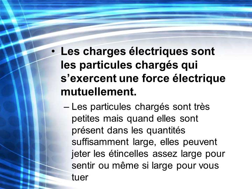 Les charges électriques sont les particules chargés qui sexercent une force électrique mutuellement. –Les particules chargés sont très petites mais qu
