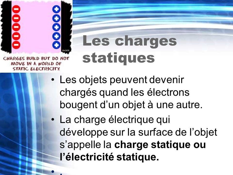 Les charges statiques Les objets peuvent devenir chargés quand les électrons bougent dun objet à une autre. La charge électrique qui développe sur la