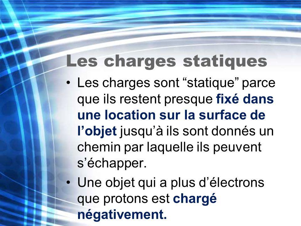 Les charges statiques Les charges sont statique parce que ils restent presque fixé dans une location sur la surface de lobjet jusquà ils sont donnés u