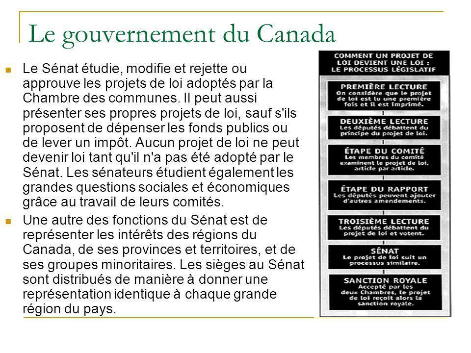 Le gouvernement du Canada Le Sénat étudie, modifie et rejette ou approuve les projets de loi adoptés par la Chambre des communes. Il peut aussi présen