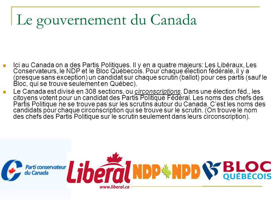 Le gouvernement du Canada Ici au Canada on a des Partis Politiques. Il y en a quatre majeurs: Les Libéraux, Les Conservateurs, le NDP et le Bloc Québe