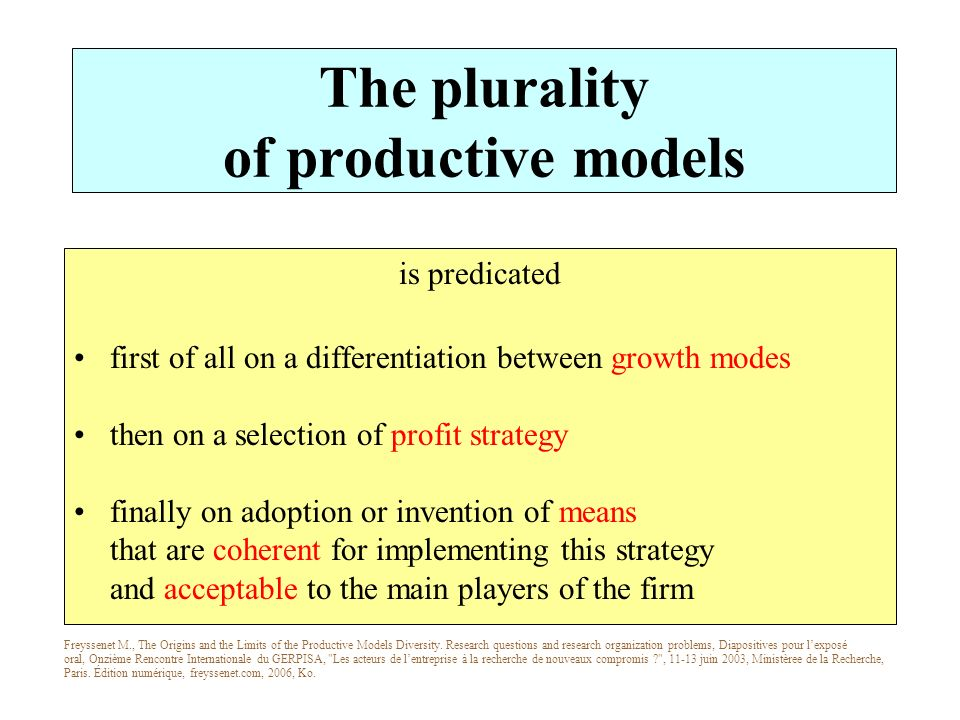 The plurality of productive models is predicated first of all on a differentiation between growth modes then on a selection of profit strategy finally