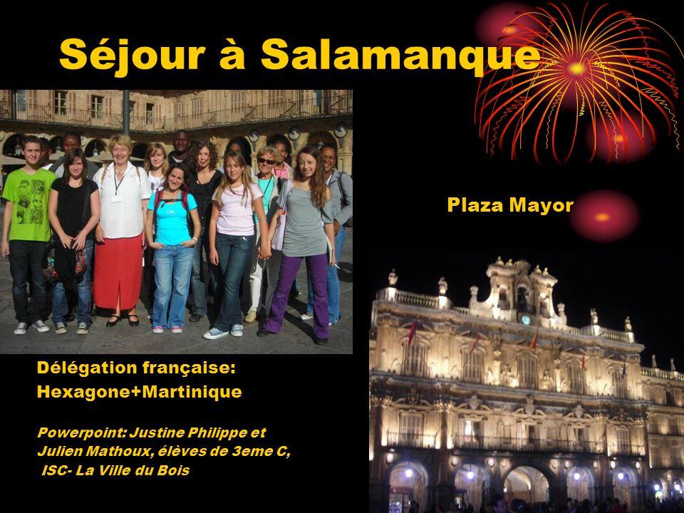 Séjour à Salamanque Plaza Mayor Délégation française: Hexagone+Martinique Powerpoint: Justine Philippe et Julien Mathoux, élèves de 3eme C, ISC- La Vi