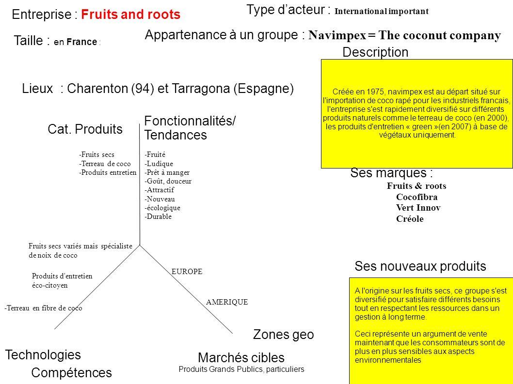 Entreprise : Fruits and roots Créée en 1975, navimpex est au départ situé sur l'importation de coco rapé pour les industriels francais, l'entreprise s