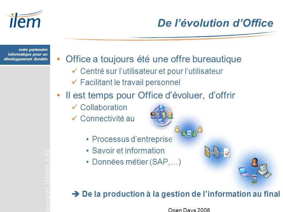 votre partenaire informatique pour un développement durable Open Days 2006 De lévolution dOffice Office a toujours été une offre bureautique Centré su