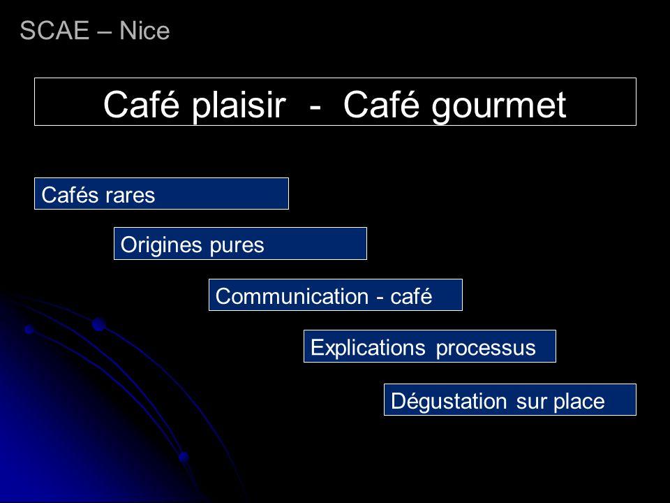 SCAE – Nice Café plaisir - Café gourmet Cafés rares Origines pures Communication - café Explications processus Dégustation sur place