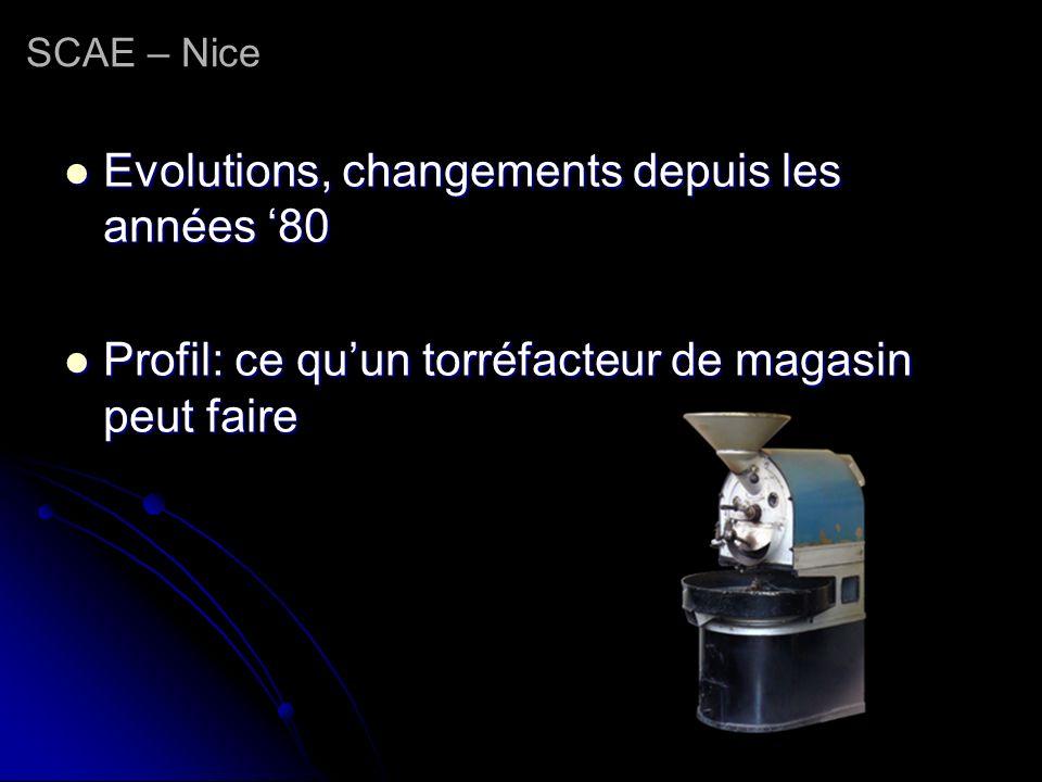 SCAE – Nice Evolutions, changements depuis les années 80 Evolutions, changements depuis les années 80 Profil: ce quun torréfacteur de magasin peut fai