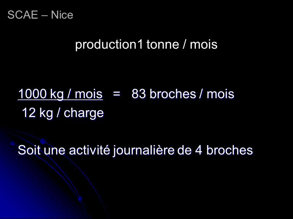 production1 tonne / mois 1000 kg / mois = 83 broches / mois 12 kg / charge 12 kg / charge Soit une activité journalière de 4 broches SCAE – Nice