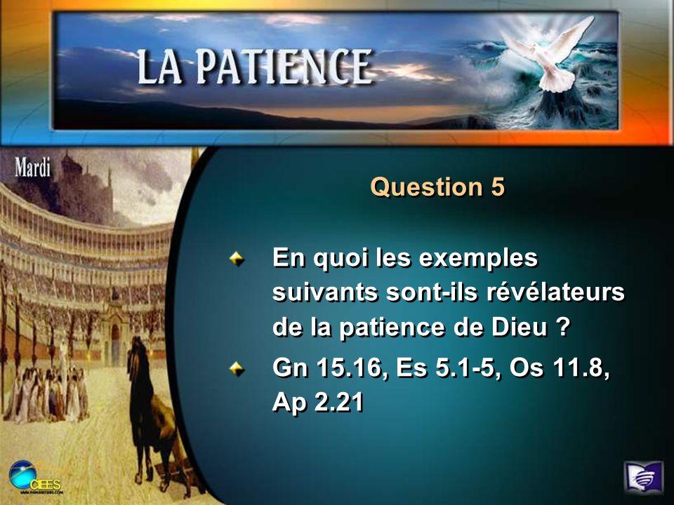 Question 5 En quoi les exemples suivants sont-ils révélateurs de la patience de Dieu ? Gn 15.16, Es 5.1-5, Os 11.8, Ap 2.21 En quoi les exemples suiva