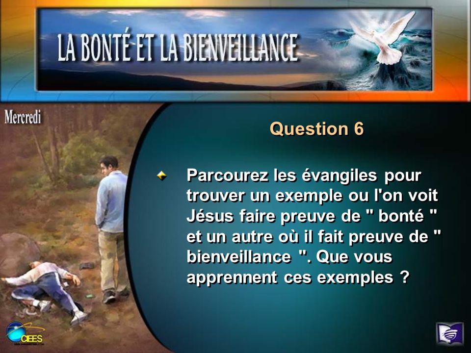 Question 6 Parcourez les évangiles pour trouver un exemple ou l'on voit Jésus faire preuve de