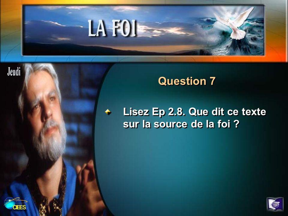 Question 7 Lisez Ep 2.8. Que dit ce texte sur la source de la foi ?