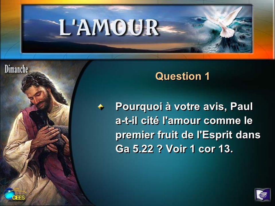 Pourquoi à votre avis, Paul a-t-il cité l'amour comme le premier fruit de l'Esprit dans Ga 5.22 ? Voir 1 cor 13. Question 1