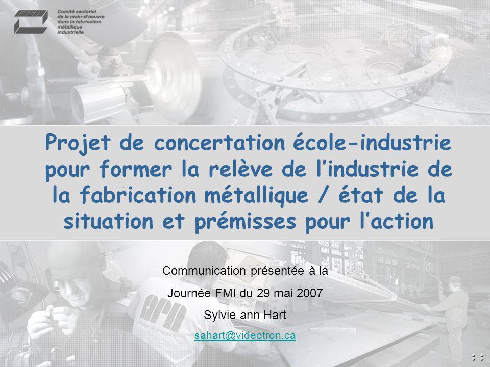 2 Plan de la présentation État de la situation : Baisse de fréquentation des programmes de la fp menant à lexercice des métiers du secteur de la fmi.