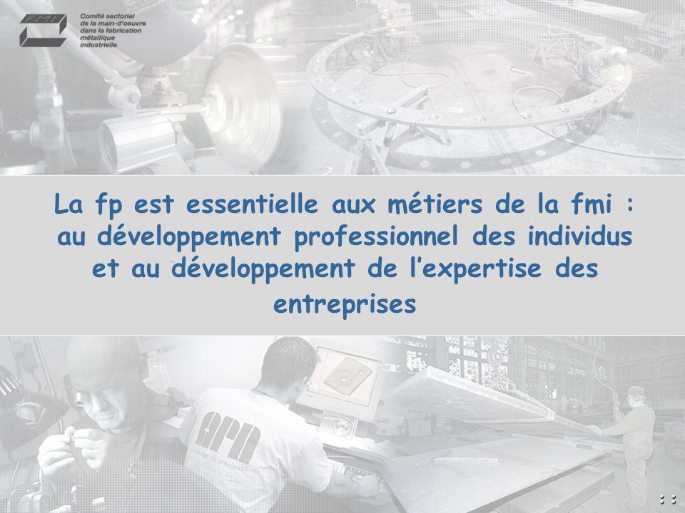 La fp est essentielle aux métiers de la fmi : au développement professionnel des individus et au développement de lexpertise des entreprises