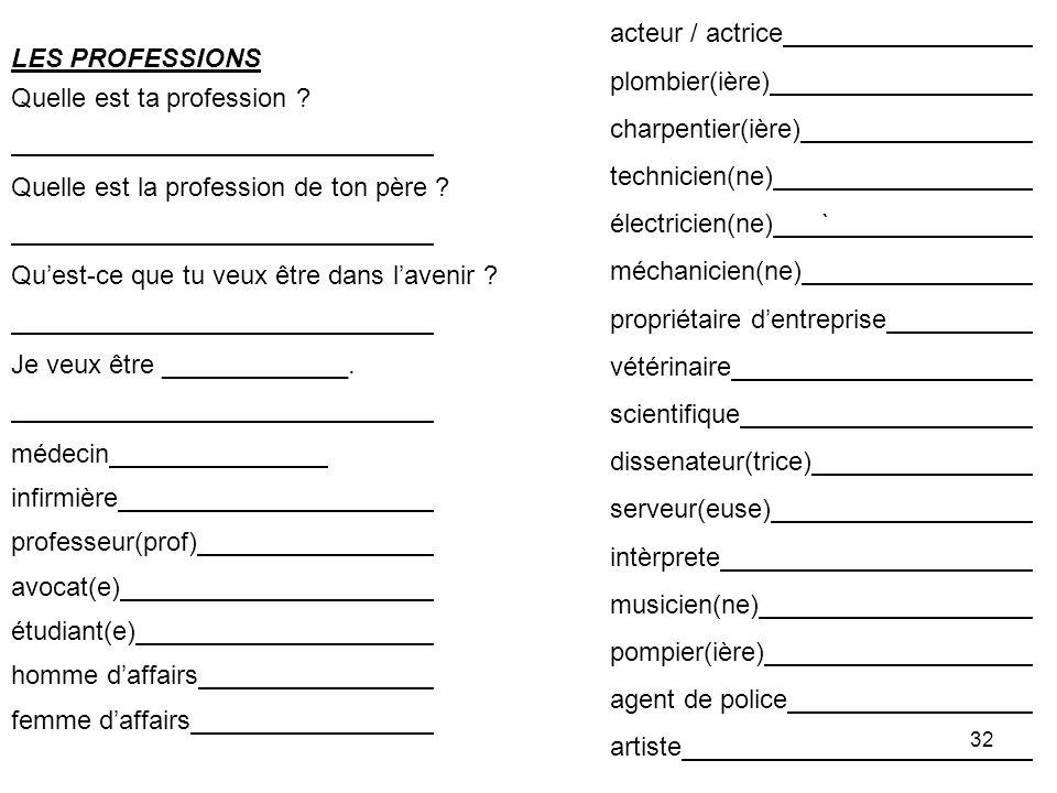 32 LES PROFESSIONS Quelle est ta profession .Quelle est la profession de ton père .